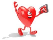 Hjärta tar en självstående med hennes smarta telefon stock illustrationer