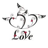 Hjärta två med vingar för designmall Royaltyfria Bilder