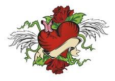 Hjärta, vingar och rosor Arkivbilder