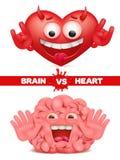 Hjärta vs svår prima begreppsillustration för hjärna Arkivbilder