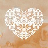Hjärtaapplique på akvarellbakgrund Royaltyfri Foto