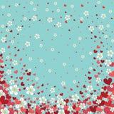 Hjärtabakgrund med körsbärsröda blommor. Vårdesign Arkivbild