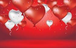 Hjärtaballong och vit Arkivbild
