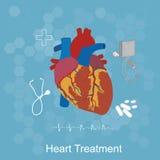 Hjärtabehandlingbegrepp, läkarundersökning, sjukvård, lägenhetstil, vektorillustration, mall Fotografering för Bildbyråer