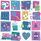 Hjärtablomma- och för födelsedaggåvor bakgrund Royaltyfria Bilder