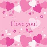 Hjärtablommor och fjärilar älskar jag dig kortet Royaltyfria Bilder