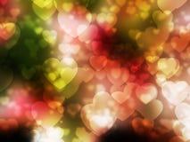 Hjärtabokeh på mörka rosa färger gör grön vit bakgrund arkivbild