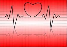 Hjärtacardiogram med hjärta på den Arkivfoton