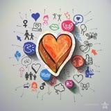 Hjärtacollage med symbolsbakgrund Royaltyfri Fotografi