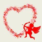 Hjärtadesign med kupidonet vektor illustrationer