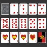 Hjärtadräkt som spelar den fulla uppsättningen för kort Arkivbilder