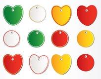 Hjärtaetiketter Arkivbild