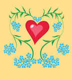 Hjärtaförgätmigej vektor illustrationer