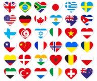 Hjärtaflaggaetiketter Royaltyfri Fotografi