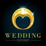 Hjärtaform i förlovningsringbegrepp Arkivfoto