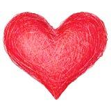 Hjärtaform komponerade av röda band som isolerades på vit Arkivfoton