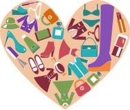 Hjärtaform med symbolsuppsättningen av modebeståndsdelar Arkivbilder