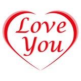 Hjärtaform och text älskar dig på vit bakgrund för valentin`, Arkivfoton