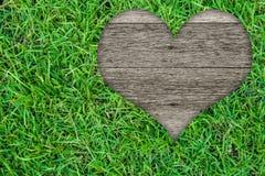 Hjärtaform på grönt gräs Royaltyfri Bild