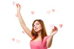 hjärtaform som trycker på kvinnan Royaltyfri Foto