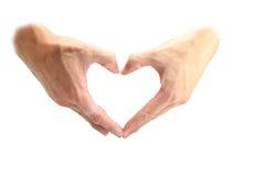hjärtaform vid handen Royaltyfria Foton