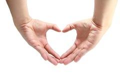 hjärtaform vid handen Royaltyfri Fotografi