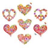 Hjärtaformer ställde för design för t-skjortahippie med abstrakta blommor, duvan, champinjoner, hippiefredsymbolet och fred och f royaltyfri illustrationer