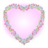 Hjärtaformmodellen som bildas av den färgrika cirkeln, formar i olika format på mjuk rosa bakgrund för lutning Vektorillustration stock illustrationer