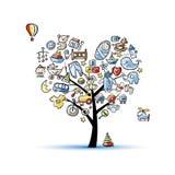 Hjärtaformträdet med leksaker för behandla som ett barn pojken royaltyfri illustrationer