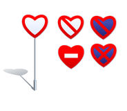 Hjärtaformvägmärken - förbudtecken Royaltyfria Bilder