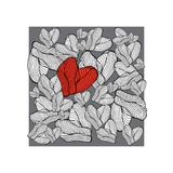 Hjärtahand som dras på grå bakgrund också vektor för coreldrawillustration Royaltyfria Foton