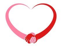 Hjärtainnehavhänder stock illustrationer