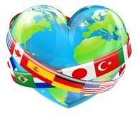 Hjärtajordklot med flaggor vektor illustrationer