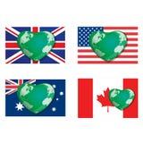 Hjärtajordklotflaggor Arkivbilder