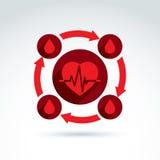 Hjärtakardiogram för cirkulations- system och blodsymbol som är cardio, bloo Arkivbild