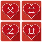 Hjärtaknappen syr FÖRÄLSKELSE Arkivbild