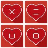Hjärtaknappen syr FÖRÄLSKELSE Arkivfoton