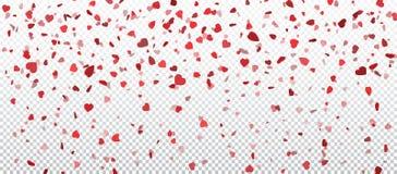 Hjärtakonfettier av valentinkronblad som faller på genomskinlig bakgrund Blomma kronbladet i form av hjärtakonfettier för dag för stock illustrationer