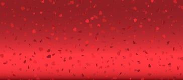 Hjärtakonfettier av valentinkronblad som faller på rosa bakgrund Blomma kronbladet i form av hjärtakonfettier för dag för kvinna` stock illustrationer