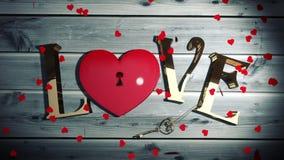 Hjärtakonfettier som faller på guld- förälskelsetext med hjärta, låser