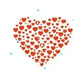 Hjärtakonfettiillustration Stock Illustrationer