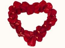 Hjärtakontur från kronblad av rosor Arkivfoton