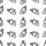 Hjärtamänniskan skissar sömlös modellbakgrund vektor Royaltyfri Foto