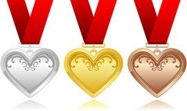 Hjärtamedaljer Fotografering för Bildbyråer