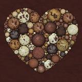 Hjärtamosaik från choklad - bruna kakor Fotografering för Bildbyråer