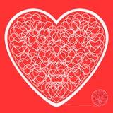 Hjärtan av de tilltrasslade trådarna på en röd bakgrund Arkivfoto