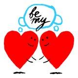 Hjärtan möter hjärtan Roligt hälsa kort för feriefestmåltiden av helgonet Valentine Day Skissa teckningen drogs med royaltyfri illustrationer