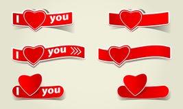 Hjärtapappersetiketten älskar jag dig logoen som Fotografering för Bildbyråer