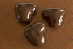 Hjärtapepparkakakakor glasade choklad fotografering för bildbyråer