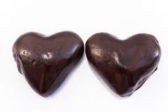 Hjärtapepparkakakakor glasade choklad royaltyfria bilder